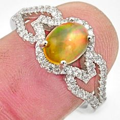 2.78cts natural multi color ethiopian opal topaz 925 silver ring size 7 r15535