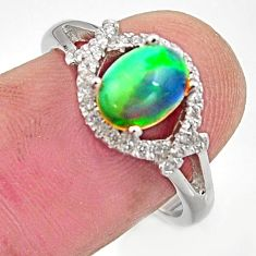 925 silver 2.92cts natural multi color ethiopian opal topaz ring size 7.5 r15540