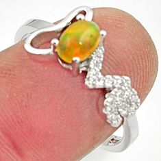 1.98cts natural ethiopian opal 925 silver ring size 7.5 r15543