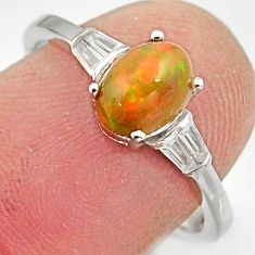 2.49cts natural ethiopian opal 925 silver ring size 7 r15544