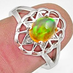 2.95cts natural ethiopian opal 925 silver ring size 6 r15546