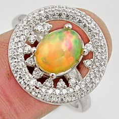 5.36cts natural ethiopian opal 925 silver ring size 9 r15547