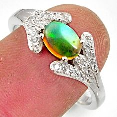 2.93cts natural ethiopian opal 925 silver ring size 8.5 r15548