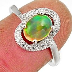 2.72cts natural ethiopian opal 925 silver ring size 6.5 r15549