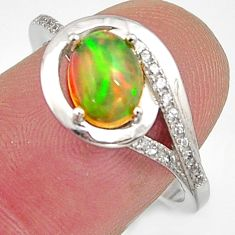 2.86cts natural multicolor ethiopian opal 925 silver ring size 7.5 r15554