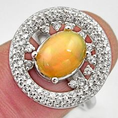5.10cts natural multicolor ethiopian opal 925 silver ring size 6.5 r15555