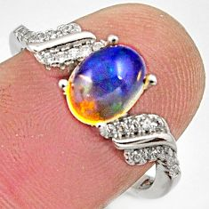2.75cts natural multicolor ethiopian opal 925 silver ring size 7 r15557