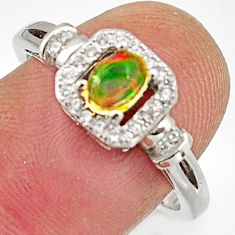 1.30cts natural multicolor ethiopian opal 925 silver ring size 7.5 r15558