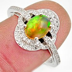 2.78cts natural multicolor ethiopian opal 925 silver ring size 8 r15559