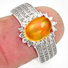 5.36cts natural multicolor ethiopian opal 925 silver ring size 6.5 r15560
