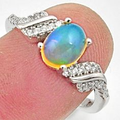 2.98cts natural multicolor ethiopian opal 925 silver ring size 7 r15564