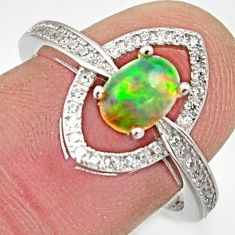 2.28cts natural multicolor ethiopian opal 925 silver ring size 7.5 r15565