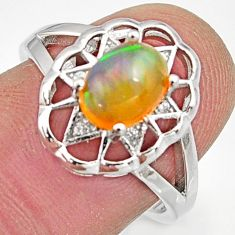 2.32cts natural multicolor ethiopian opal 925 silver ring size 7 r15566