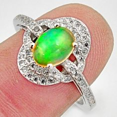 4.43cts natural multicolor ethiopian opal 925 silver ring size 7.5 r15568