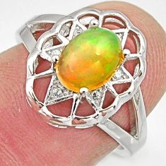 2.58cts natural multicolor ethiopian opal 925 silver ring size 6 r15569