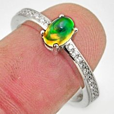 1.95cts natural multicolor ethiopian opal 925 silver ring size 7.5 r15571