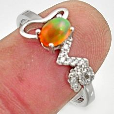 1.49cts natural multicolor ethiopian opal 925 silver ring size 8.5 r15573