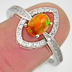 2.93cts natural multicolor ethiopian opal 925 silver ring size 8.5 r15574