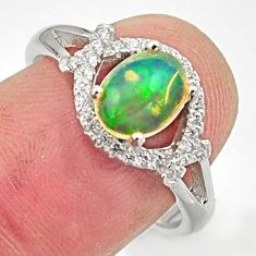 2.95cts natural multicolor ethiopian opal 925 silver ring size 7.5 r15575