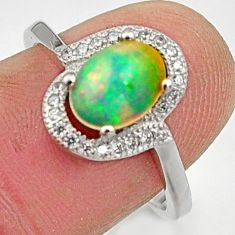 2.93cts natural multicolor ethiopian opal 925 silver ring size 7.5 r15576