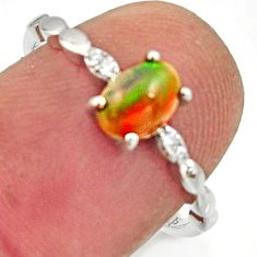 1.86cts natural multicolor ethiopian opal 925 silver ring size 7 r15577