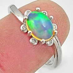 3.03cts natural multicolor ethiopian opal 925 silver ring size 7 r15579