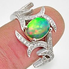 4.42cts natural multicolor ethiopian opal 925 silver ring size 7.5 r15580