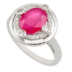 4.43cts natural red ruby cubic zirconia 925 sterling silver ring size 6 r15586