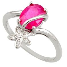 2.96cts natural red ruby cubic zirconia 925 sterling silver ring size 7.5 r15589