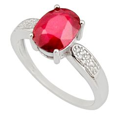 3.83cts natural red ruby cubic zirconia 925 sterling silver ring size 8 r15592