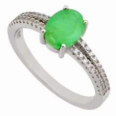 3.05cts natural green emerald cubic zirconia 925 silver ring size 8 r15597