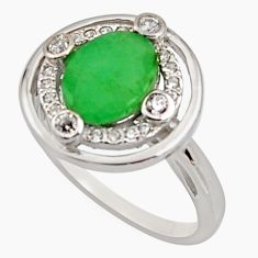 3.45cts natural green emerald cubic zirconia 925 silver ring size 6 r15598