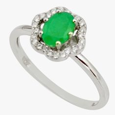 2.58cts natural green emerald cubic zirconia 925 silver ring size 9 r15599