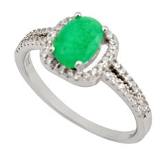 3.40cts natural green emerald cubic zirconia 925 silver ring size 9 r15600