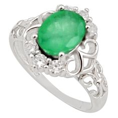 3.59cts natural green emerald cubic zirconia 925 silver ring size 7 r15602