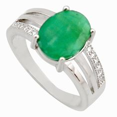 4.43cts natural green emerald cubic zirconia 925 silver ring size 6 r15603