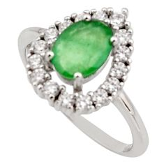 2.96cts natural green emerald cubic zirconia 925 silver ring size 6.5 r15604
