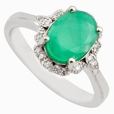 4.30cts natural green emerald cubic zirconia 925 silver ring size 8 r15605