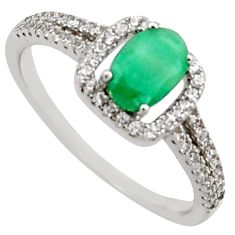 2.72cts natural green emerald cubic zirconia 925 silver ring size 8 r15606