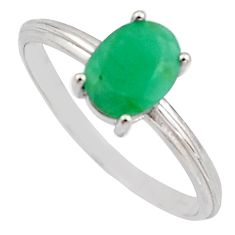 1.86cts natural green emerald cubic zirconia 925 silver ring size 8 r15608