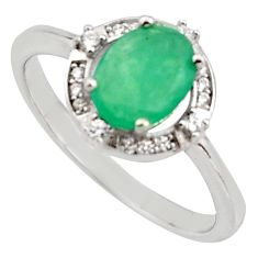 3.59cts natural green emerald cubic zirconia 925 silver ring size 9 r15609