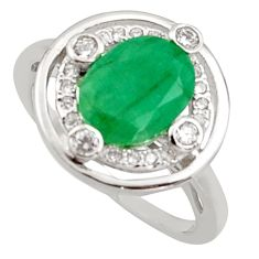 3.83cts natural green emerald cubic zirconia 925 silver ring size 6 r15610