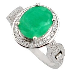 4.92cts natural green emerald cubic zirconia 925 silver ring size 7.5 r15611