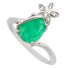 2.98cts natural green emerald cubic zirconia 925 silver ring size 7 r15612