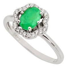 2.23cts natural green emerald cubic zirconia 925 silver ring size 7 r15613