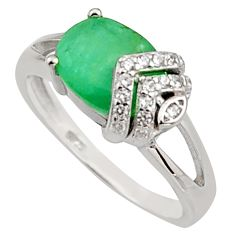 3.41cts natural green emerald cubic zirconia 925 silver ring size 6.5 r15615