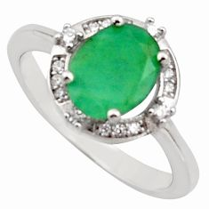 3.59cts natural green emerald cubic zirconia 925 silver ring size 7 r15617