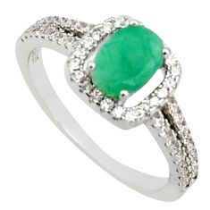 2.49cts natural green emerald cubic zirconia 925 silver ring size 6 r15618