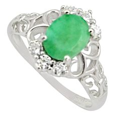 3.91cts natural green emerald cubic zirconia 925 silver ring size 9 r15619