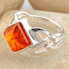 2.72cts natural orange baltic amber 925 silver solitaire ring size 5.5 r15621